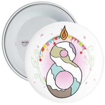 8th Birthday Badge with Candles and Pink Background