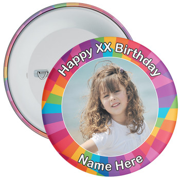 Colourful Customisable Birthday Photo Badge 5