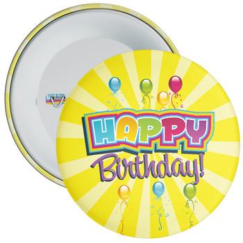 Yellow Happy Birthday Badge