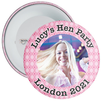 Customisable Pink Pattern Hen Party Photo Badge