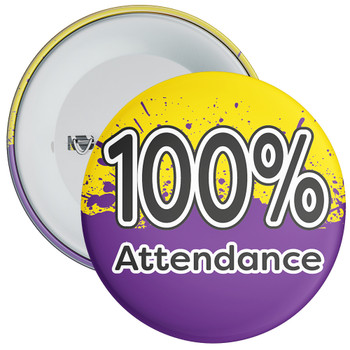 School 100% Attendance Badge with Yellow/Purple Background