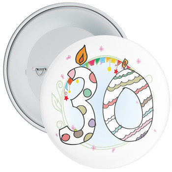 30th Birthday Badge with Candles and Blue Background