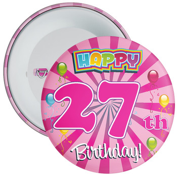 Pink 27th Birthday Badge