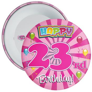 Pink 23rd Birthday Badge