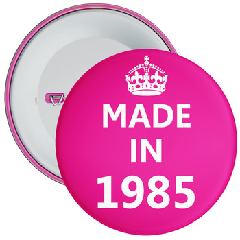 Pink Made in 1985 Birthday Badge
