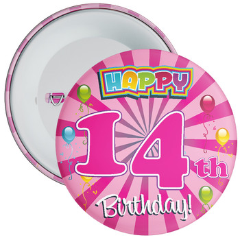 Pink 14th Birthday Badge