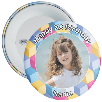 Colourful Customisable Birthday Photo Badge 2