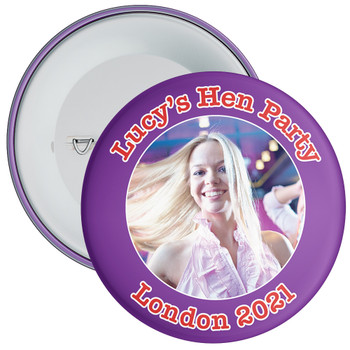 Customisable Purple Hen Party Photo Badge