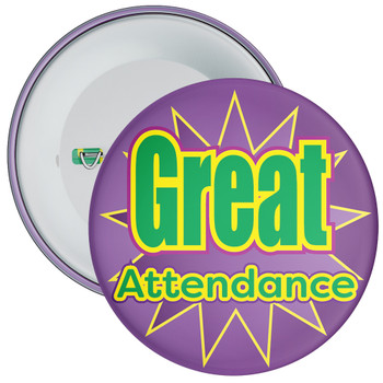 School Great Attendance Badge with Purple Star Background