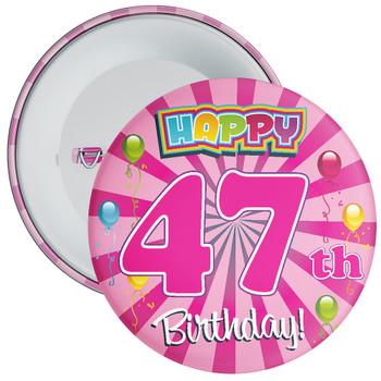 Pink 47th Birthday Badge