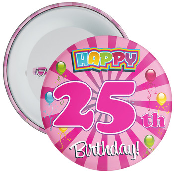 Pink 25th Birthday Badge