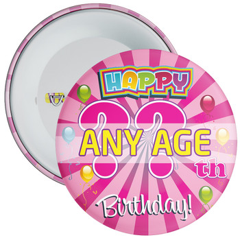 Pink Birthday Badge - Age 5 - 100