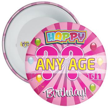 Pink Birthday Badge - Age 5 - 100