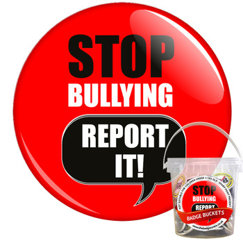 Pack of Red Stop Bullying Report It Badges - Badge Bucket