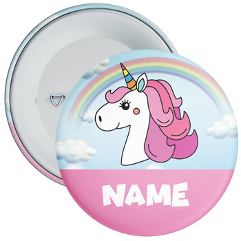 Unicorn Birthday Badge With Name