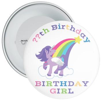 Unicorn Rainbow Birthday Girl Badge With Age 1