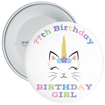 Unicorn Birthday Girl Badge With Age 3