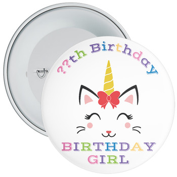 Unicorn Birthday Girl Badge With Age 4
