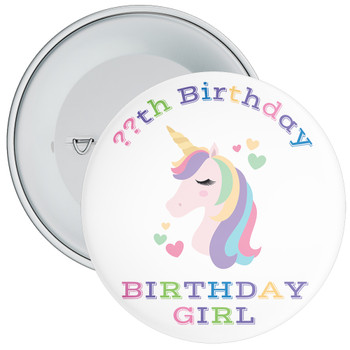 Unicorn Birthday Girl Badge With Age 5