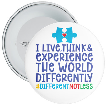 I Love, Think & Experience Autism Awareness Badge