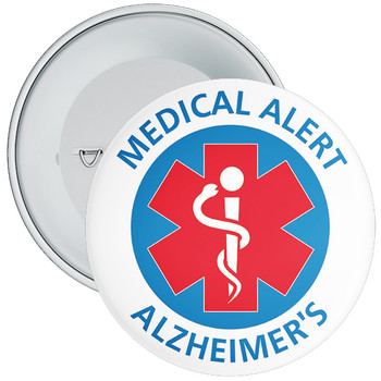 Alzheimer's Medical Alert Badge - 5 Sizes