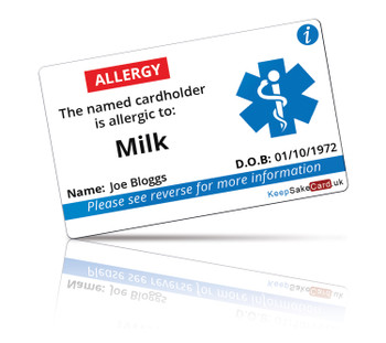 Milk Allergy I.C.E. Card