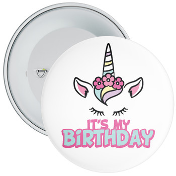 It's My Birthday Badge with Unicorn