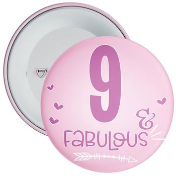 9 & Fabulous Birthday Badge