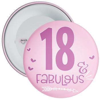 18 & Fabulous Birthday Badge