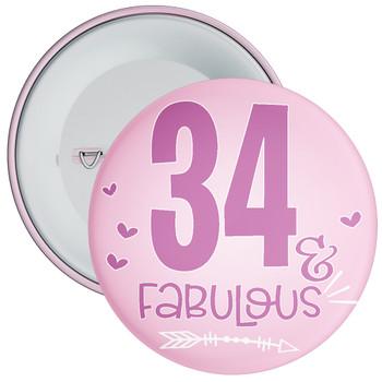 34 & Fabulous Birthday Badge