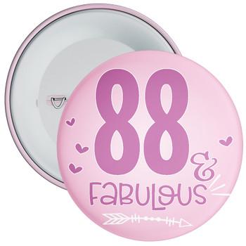 88 & Fabulous Birthday Badge