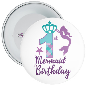 1st Mermaid Birthday Birthday Badge