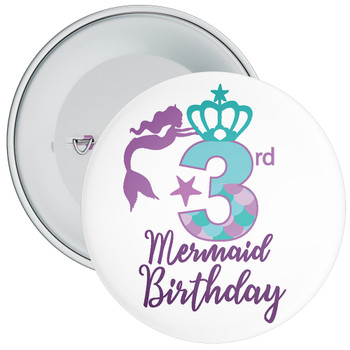 3rd Mermaid Birthday Birthday Badge