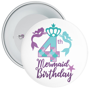 4th Mermaid Birthday Birthday Badge