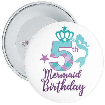 5th Mermaid Birthday Birthday Badge
