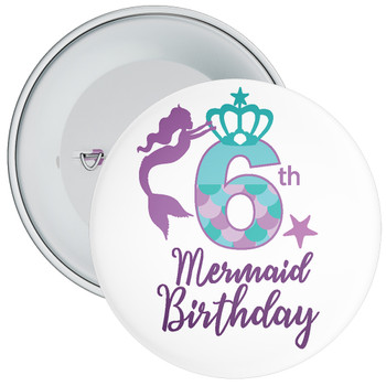 6th Mermaid Birthday Birthday Badge
