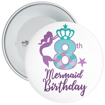 8th Mermaid Birthday Birthday Badge