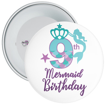 9th Mermaid Birthday Birthday Badge