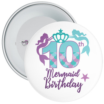 10th Mermaid Birthday Birthday Badge
