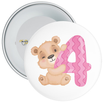 Bear 4th Birthday Badge