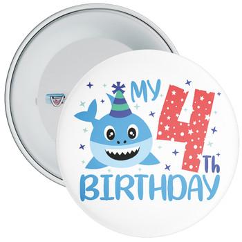 Shark My 4th Birthday Badge