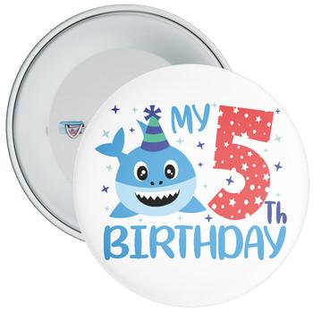 Shark My 5th Birthday Badge