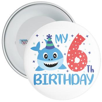 Shark My 6th Birthday Badge
