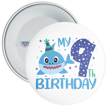 Shark My 9th Birthday Badge