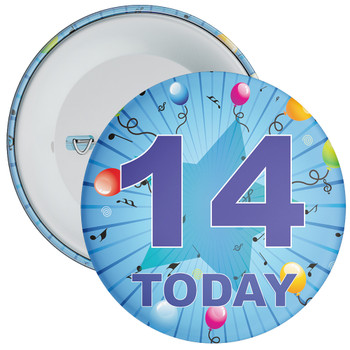 Blue 14th Birthday Badge