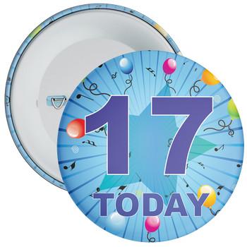 Blue 17th Birthday Badge