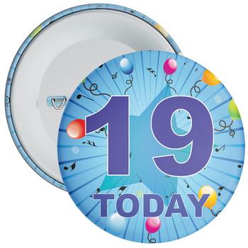 Blue 19th Birthday Badge