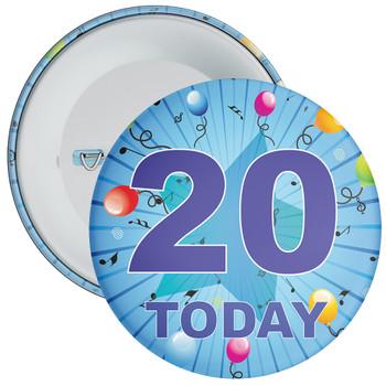 Blue 20th Birthday Badge