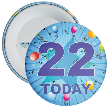 Blue 22nd Birthday Badge