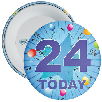 Blue 24th Birthday Badge